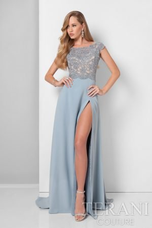 Sexy Lace Bodice Gown with High Thigh Slit – 1711M3366