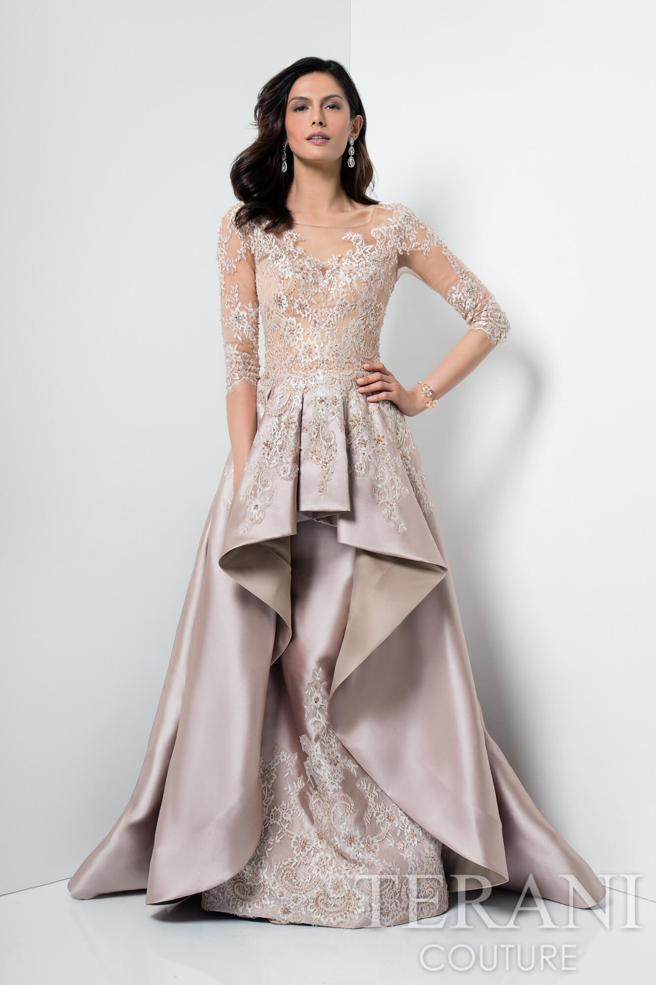 Picture Prefect Quarter Lace Sleeve Gown 1711m3518