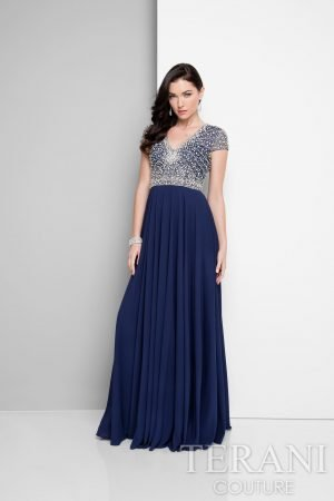 Sparkling Long Evening Dress With Bead Detail – 1712M3429