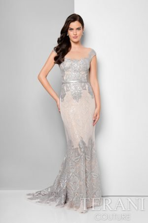 Elegant Cap Sleeve Sequin Lace Dress – 1713M3505