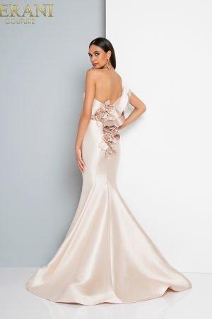 Ruffled One Shoulder Column Dress – 1811E6112