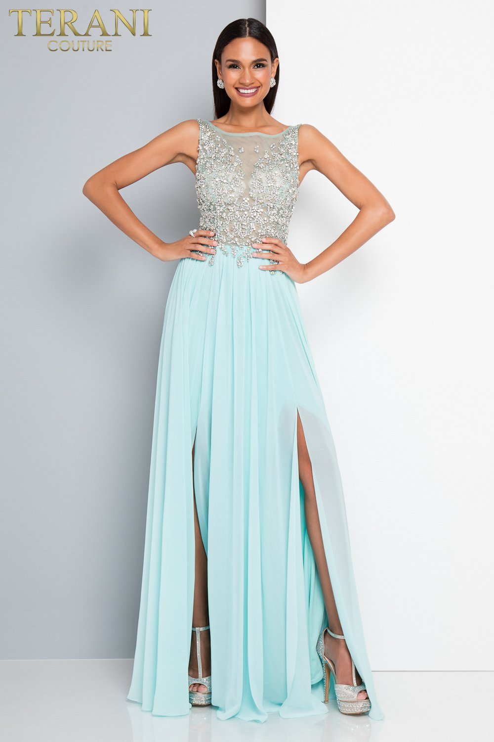 Crystal Encrusted Illusion Neckline Prom Dress - 1811P5204
