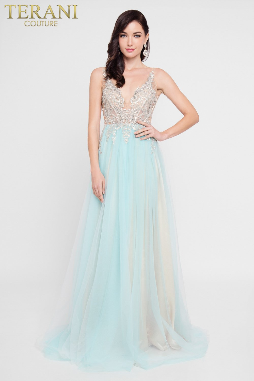 Plunging Neckline Beaded Fairytale Prom Dress – 1811P5206