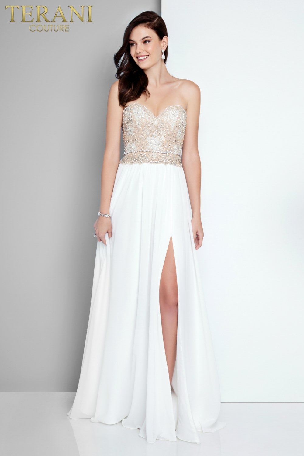 074d546eda3 Romantic Strapless Embroidered Flowy Prom Dress – 1811P5214