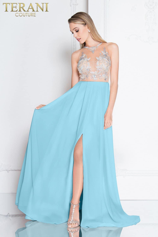 3e6ac1b9635 Flowy Illusion Neckline High Slit Prom Dress – 1811P5215