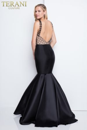 Sexy Deep V Neckline Detailed Mermaid Prom Dress – 1811P5229