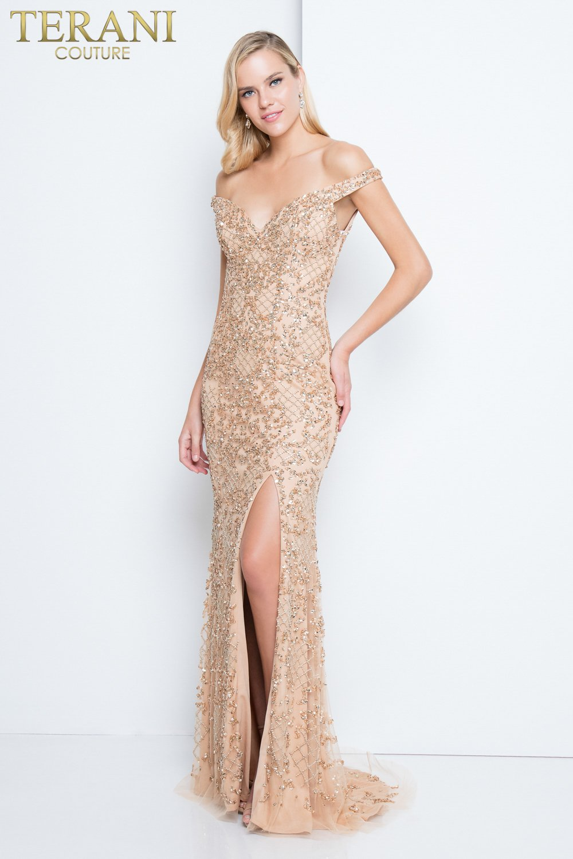 b664c5c2783 Elegant Beaded Off the Shoulder Prom Dress - 1811P5259