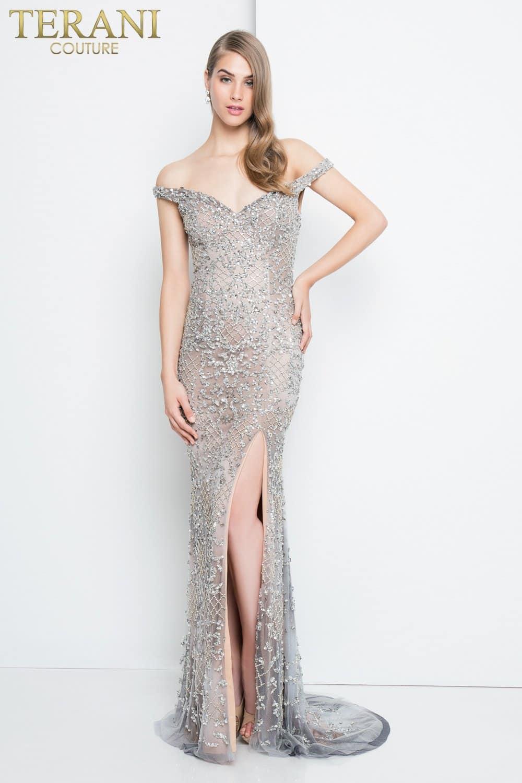 Off the Shoulder Silver Dress - 1811P5261