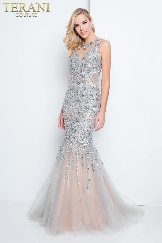 0c20c3733813 Intricately Beaded Silver Mermaid Prom Dress – 1811P5512