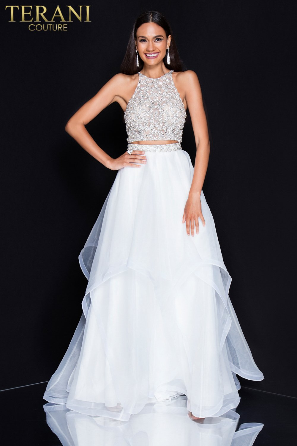 9020351cf76d High Neckline Beaded Two Piece Prom Dress – 1811P5706