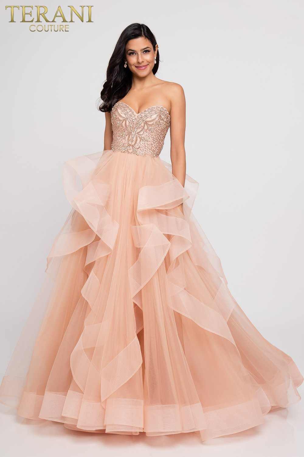 Princess Beaded Bodice Strapless Prom Ball Gown 1811p5731