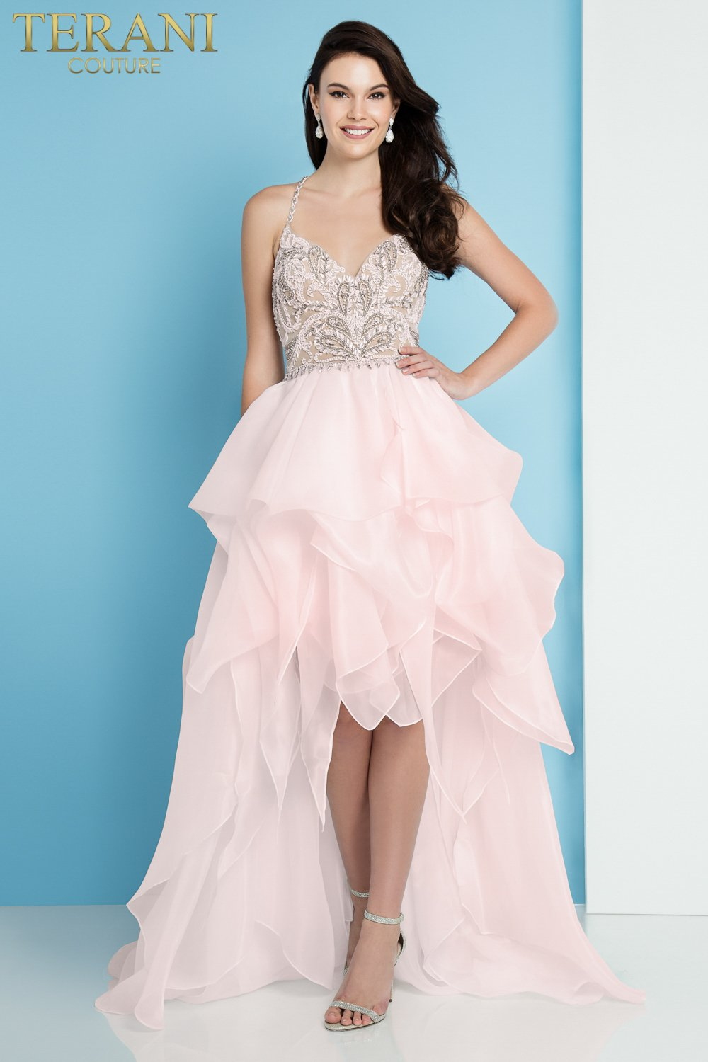 Beaded Spaghetti Strap High Low Prom Dress – 1811P5782