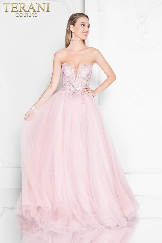 Deep V Strapless Beaded Ball Gown Prom Dress – 1811P5783