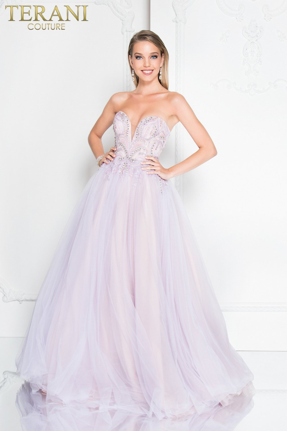 1300e514f3 Deep V Strapless Beaded Ball Gown Prom Dress – 1811P5783