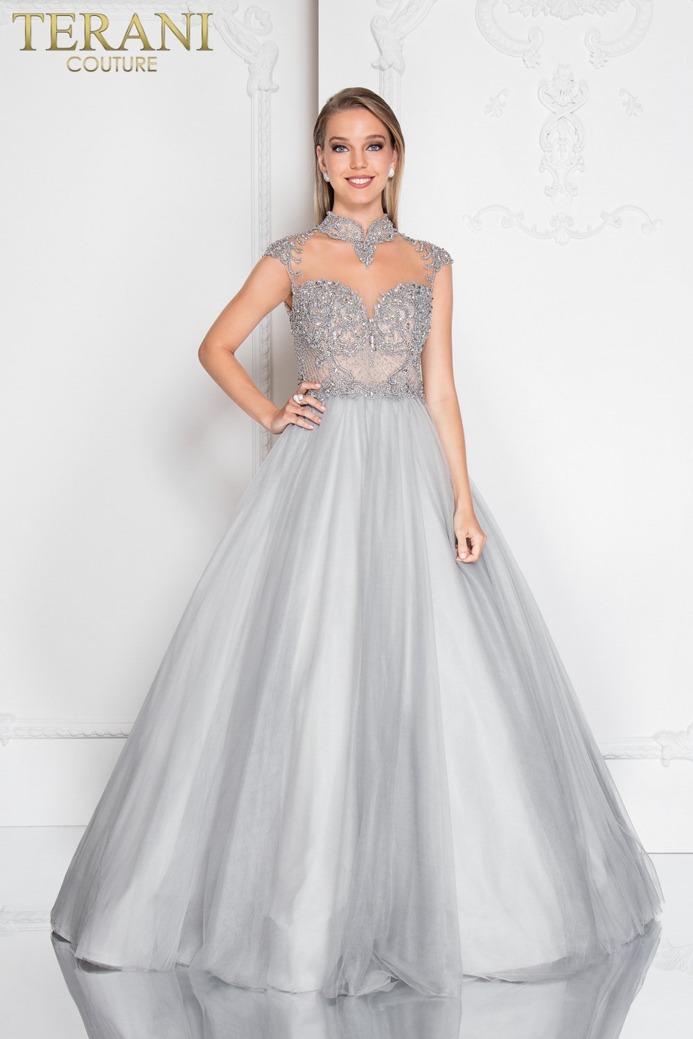 High Illusion Neckline Intricate Prom Ball Gown 1811p5786