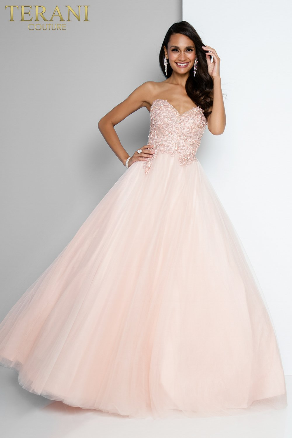 8f7bd186f5f Classic Strapless Embroidered Prom Ball Gown – 1811P5788