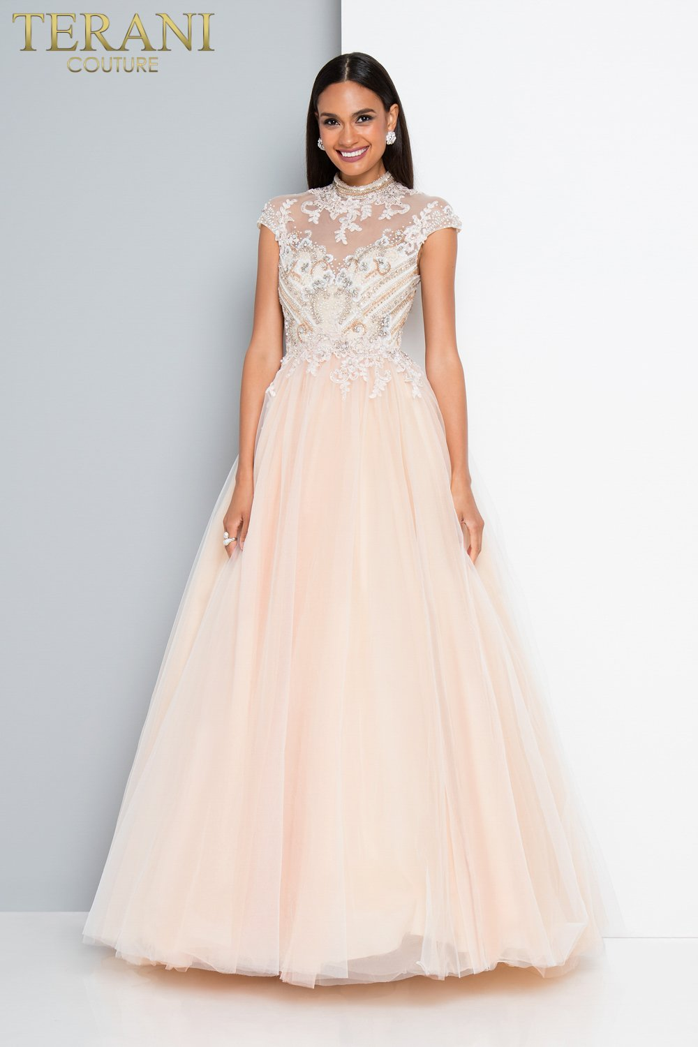 Dainty Beaded Bodice Long Tulle Prom Ball Gown 1811p5797