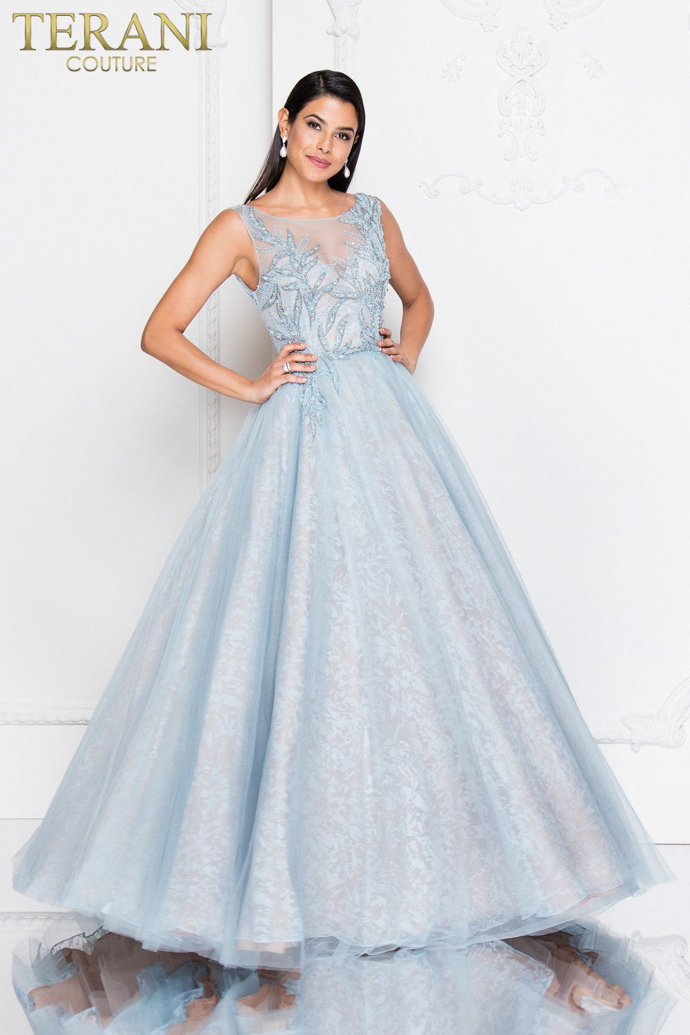 3D Beaded Bodice Organza Ball Skirt Prom Dress – 1811P5798