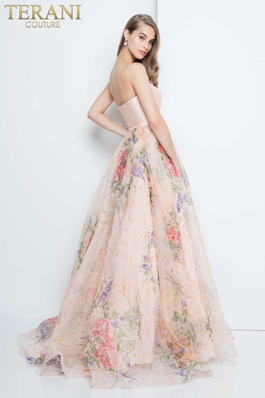 16c44b531c2 Floral Strapless Organza Ball Skirt Prom Dress – 1811P5808