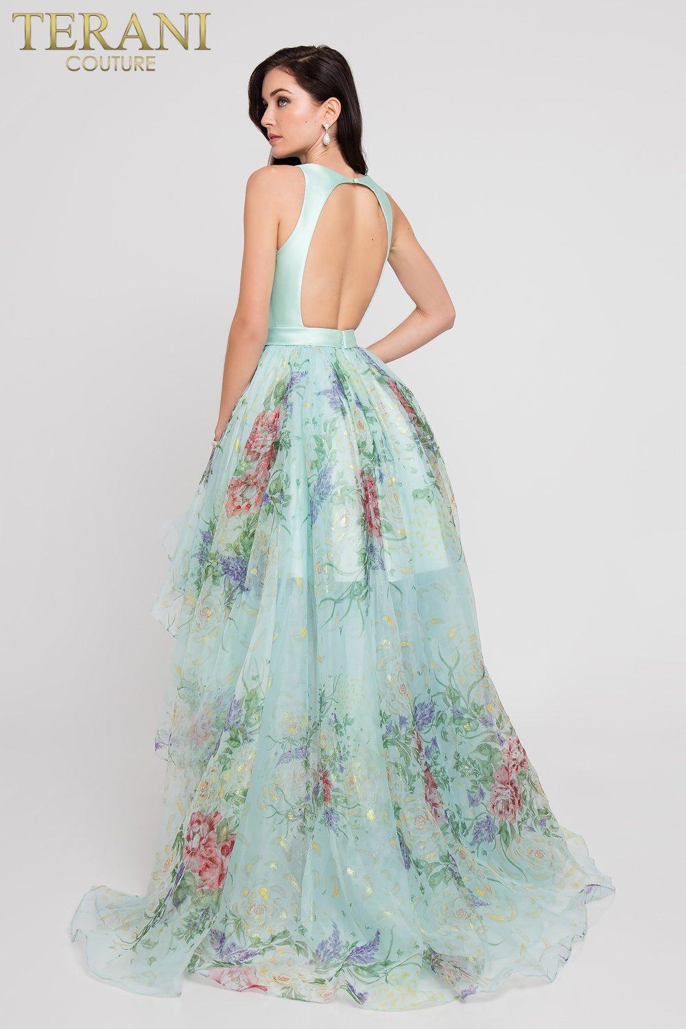 Sleeveless Open Back High Low Floral Prom Dress – 1811P5809