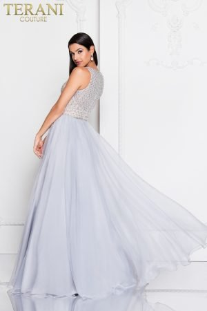 Crystal Deep V Neck Embellished Long Ball Gown – 1811P5814