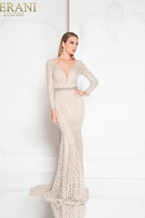Beaded Lace Special Occasion Gown – 1812E6299