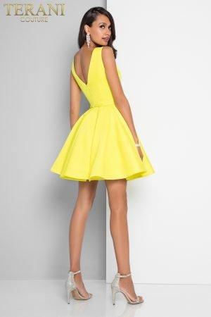 Plunging V Neckline Short Skater Prom Dress – 1812P5140X