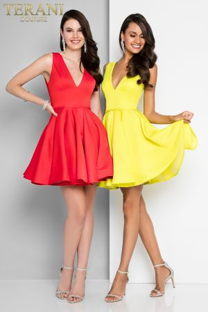 Plunging V Neckline Short Skater Prom Dress – 1812P5140X