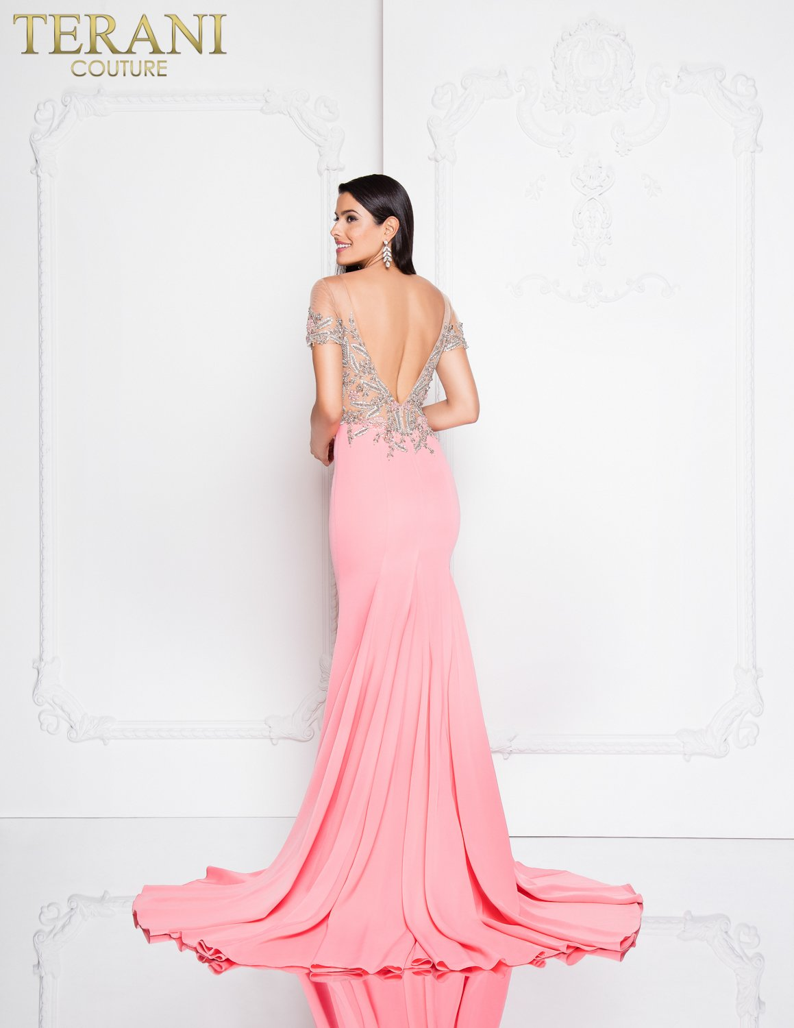 Fitted Off the Shoulder High Slit Prom Dress – 1812P5362