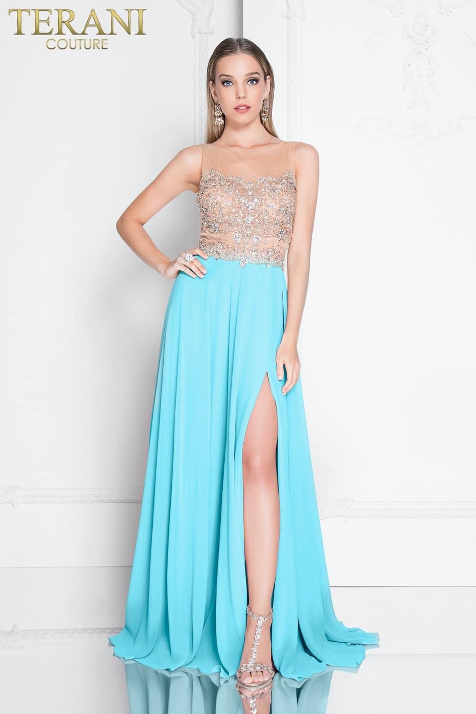 Airy Chiffon Beaded Nude Illusion Prom Dress – 1812P5376