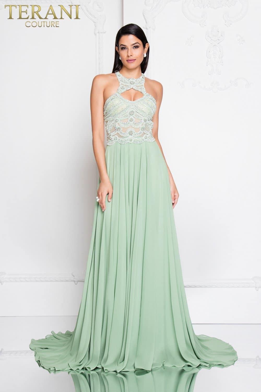 Keyhole Cut Out Halter Neck Long Prom Dress - 1812P5393