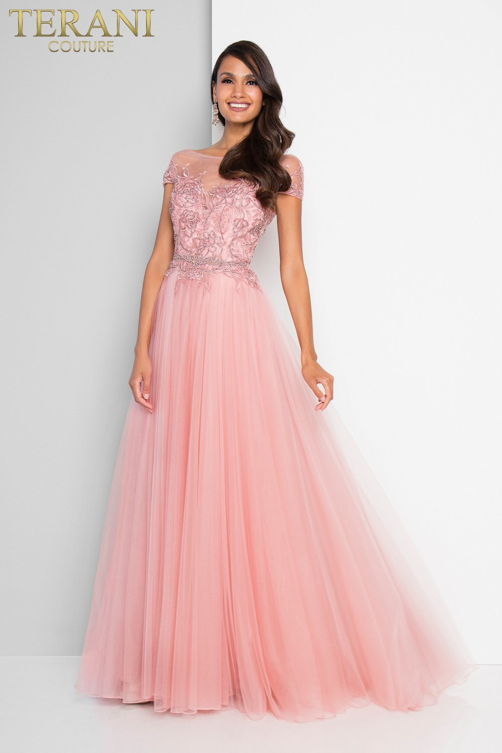 Bateau Neck Embroidered Cap Sleeve Ball Gown – 1812P5858X