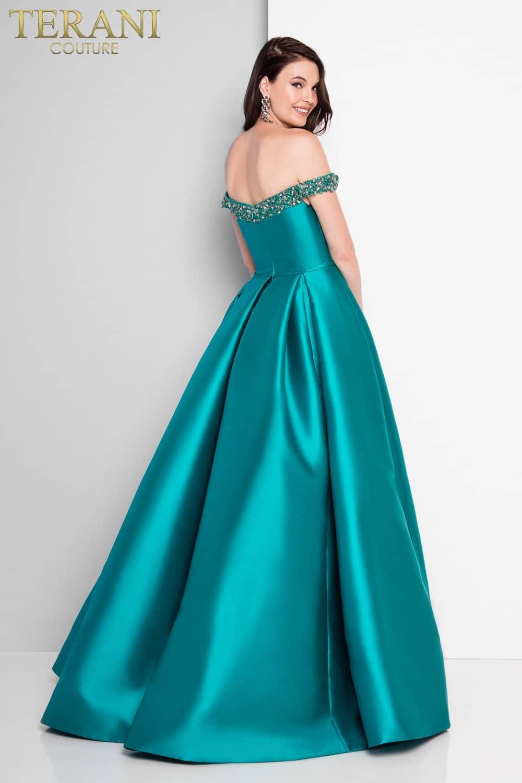 High Slit Plunging Neckline Teal Prom Dress – 1812P5860X