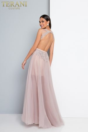 Blush Embroidered Short Lining Sheer Ball Gown- 1812P6297X