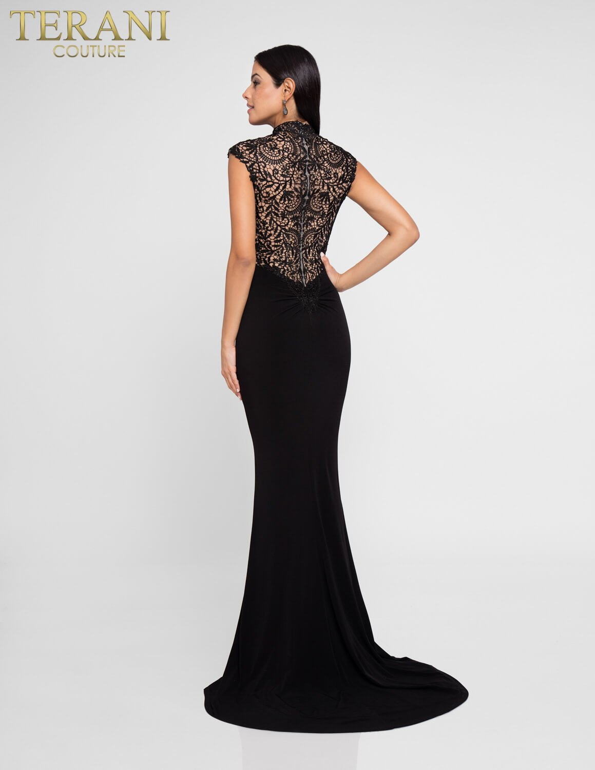 Black Formal Gown with Lace - 1813E6373
