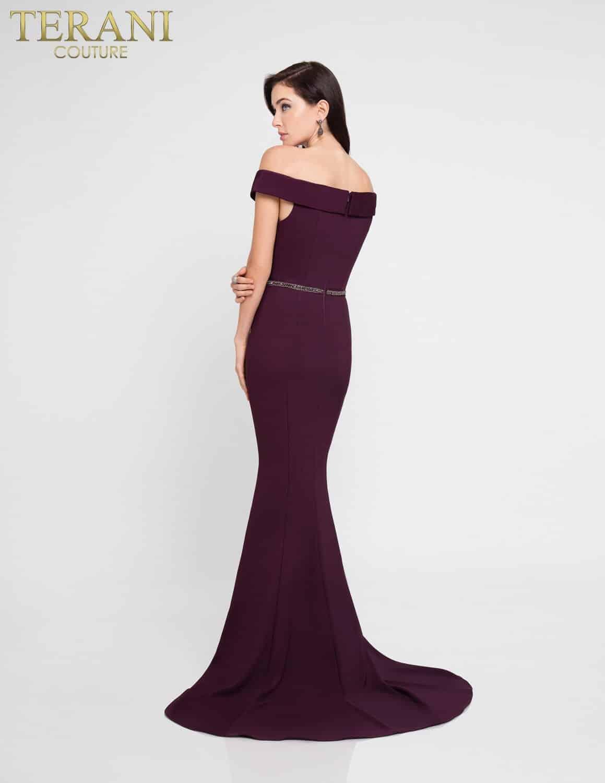 Plum Off The Shoulder Evening Gown 1813e6385