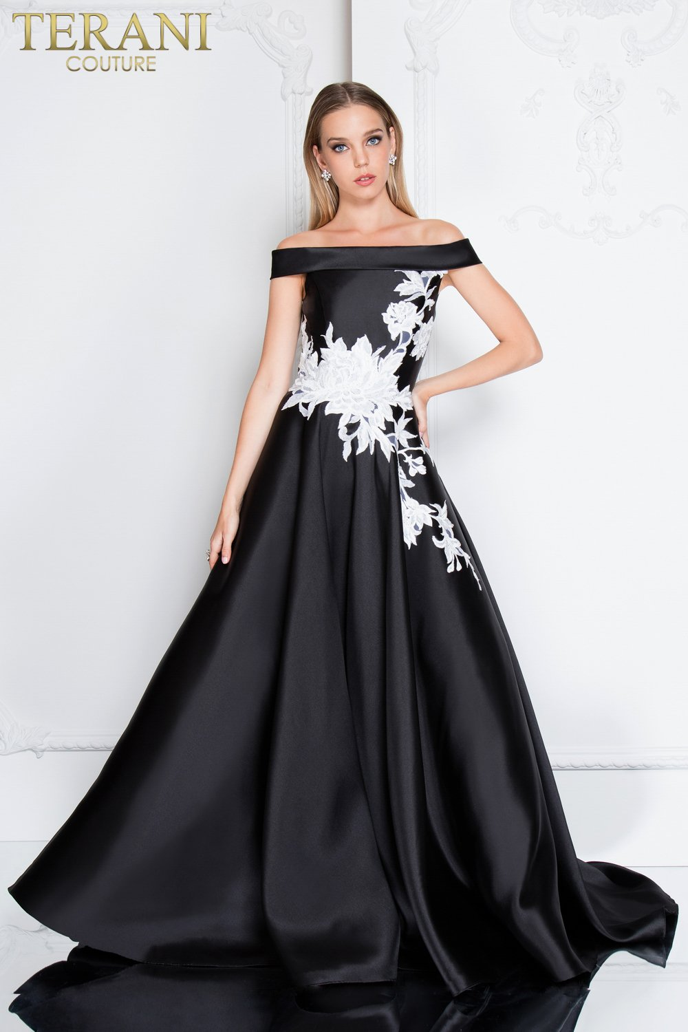 1ac1b320c3 Elegant Off the Shoulder Embroidered Ball Gown - 1813P5073