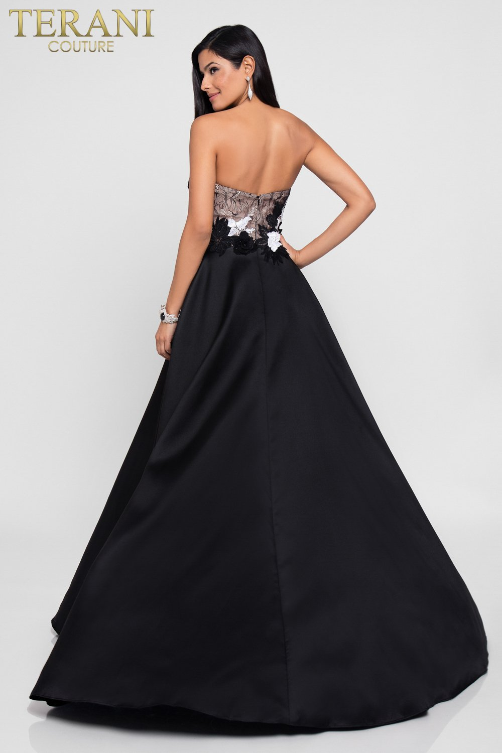Elegant Black Strapless Ball Gown Prom Dress - 1815P5902