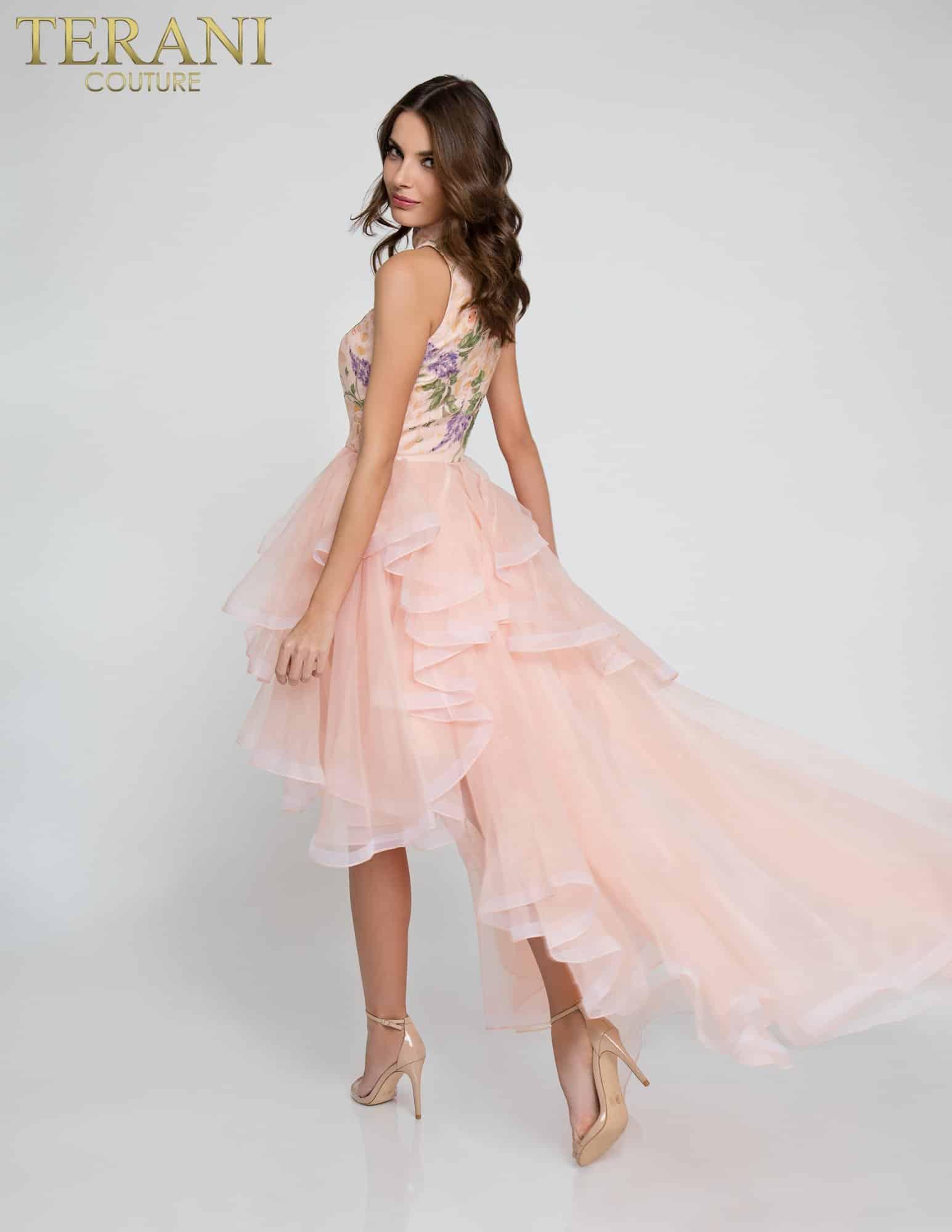 High Neck Floral Print Organza Prom Dress - 1811P5810