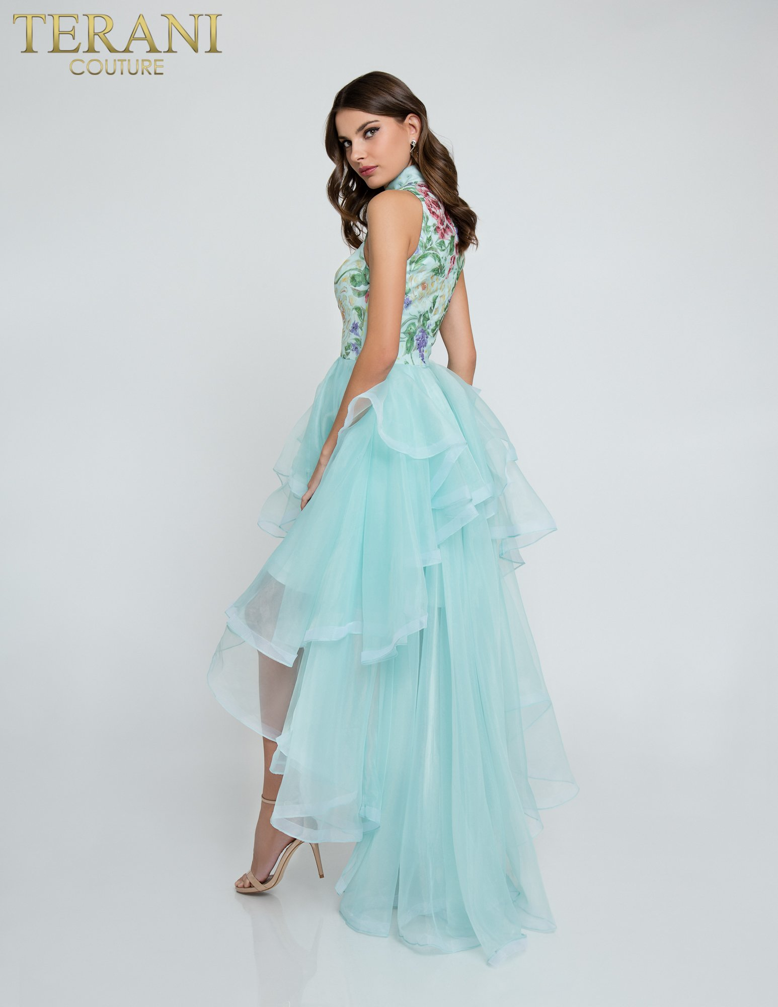 High Neck Floral Print Organza Prom Dress - 1811P5810