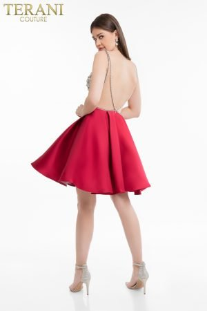 Matte Satin Full Box Pleat Skirt Dress with Illusion Back 1821H7771