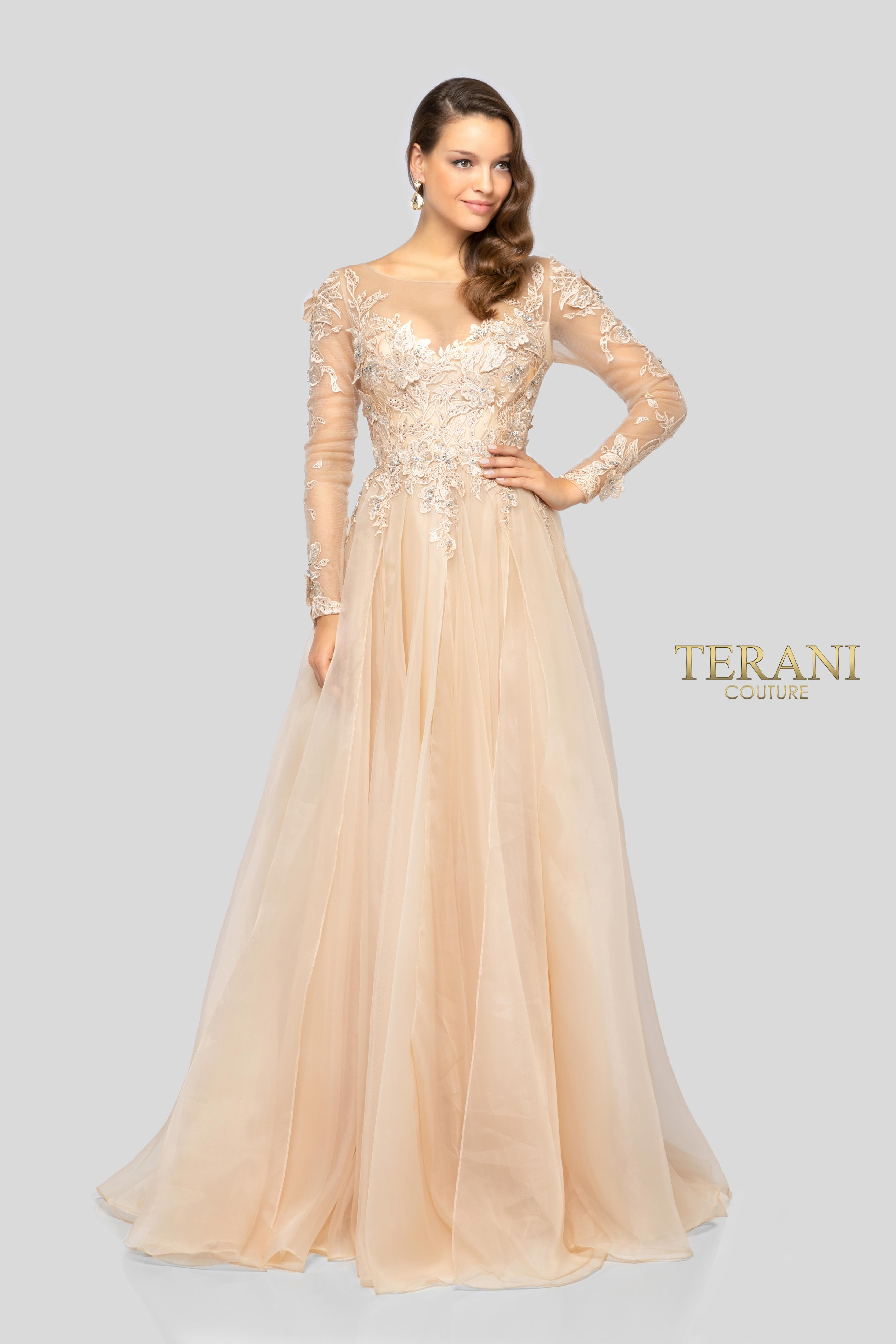 b8ce92460ac3 Terani Couture Long Sleeve Beaded Bodice Ball Gown