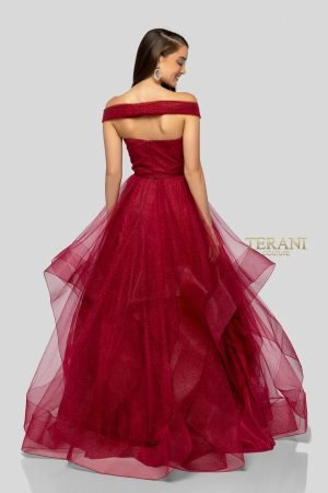 Off the Shoulder Ball Gown With Detailed Waist – 1911P8019G