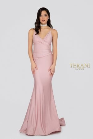 "Spaghetti Strap ""v"" Neckline Fitting Spandex Satin Prom Dress – 1912P8280"