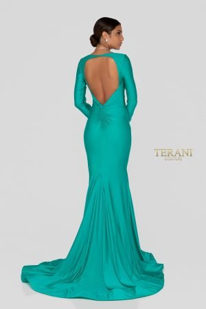 Long Sleeve Fitting Spandex Satin Mermaid Prom Gown – 1912P8281