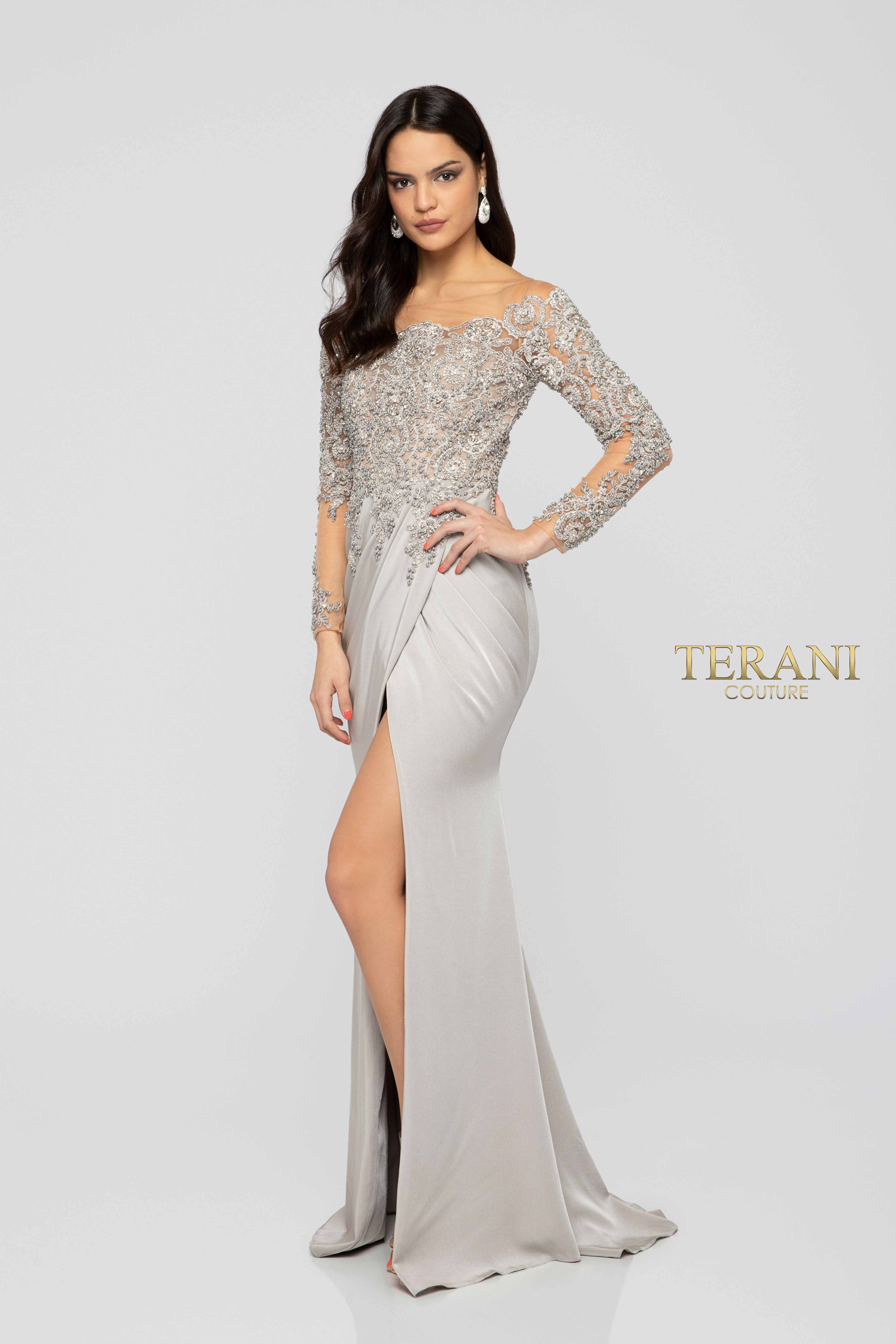 fc249b21443 Glamour By Terani Couture High Neck Illusion Beaded Bodice Long Dress