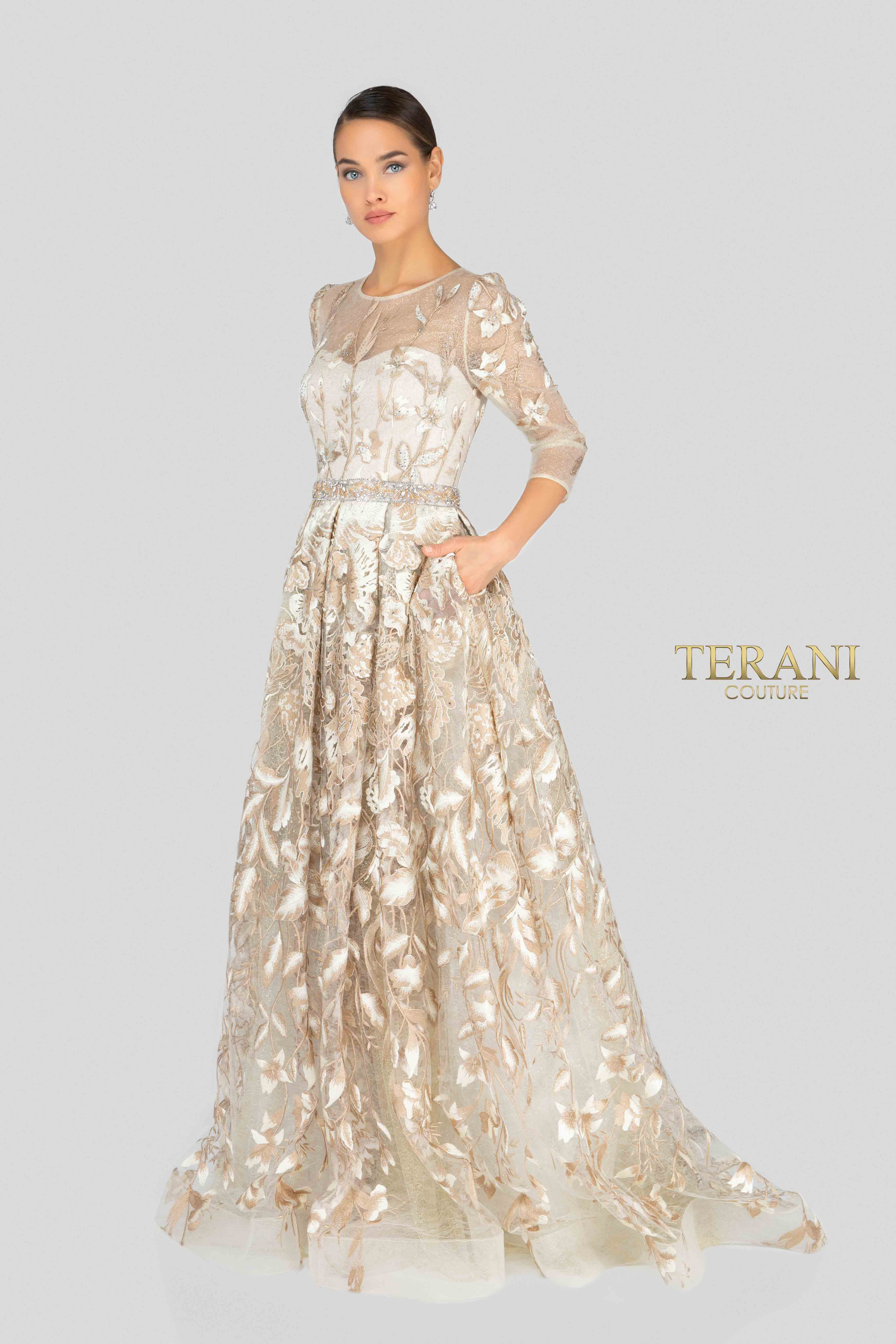 12bf2db2f7 Glamour By Terani Couture High Neck Illusion Beaded Bodice Long Dress