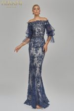 Evening Scallops and Flowers Cascade Strapless Gown - 1911E9606