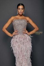 Evening Beaded Bodice with a Fun Feather - 1911E9612