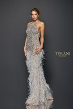 DELICATE FEATHER PLUMES BEADED GOWN - 1911GL9505